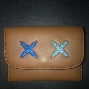 Small Coach wallet tan with blue glitter X